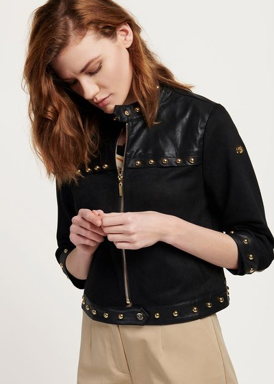 Charlie faux-leather jacket with light gold studs