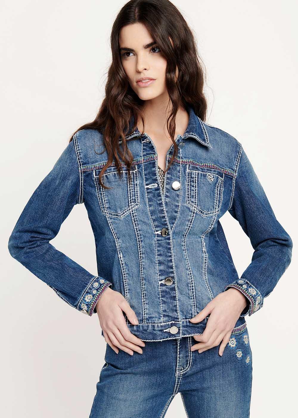 Gabriel denim jacket with contrasting stitching - Medium Denim - Woman
