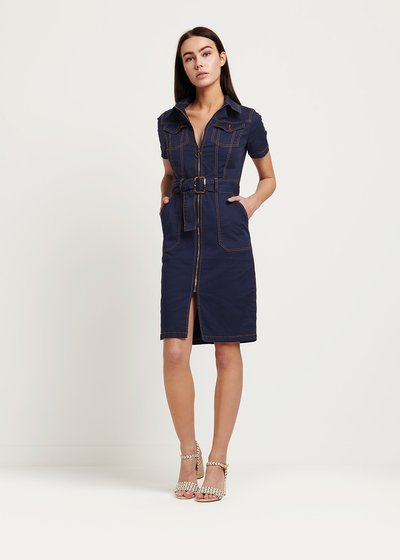 Amis blue dress with contrasting stitching