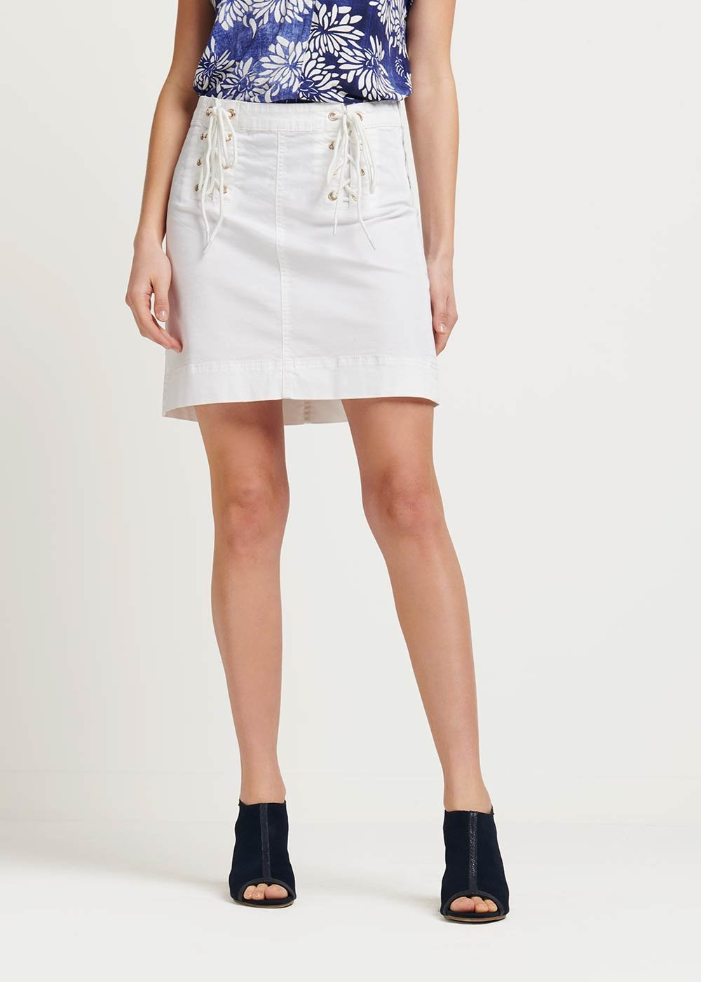 Gonna Georgie con dettaglio incrocio - White - Donna