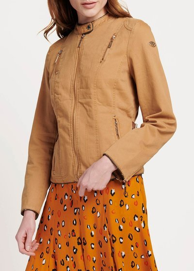 Golia jacket with front multi-zipper