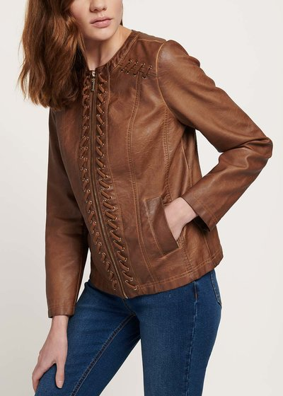 Georges jacket with faux-leather cross detail