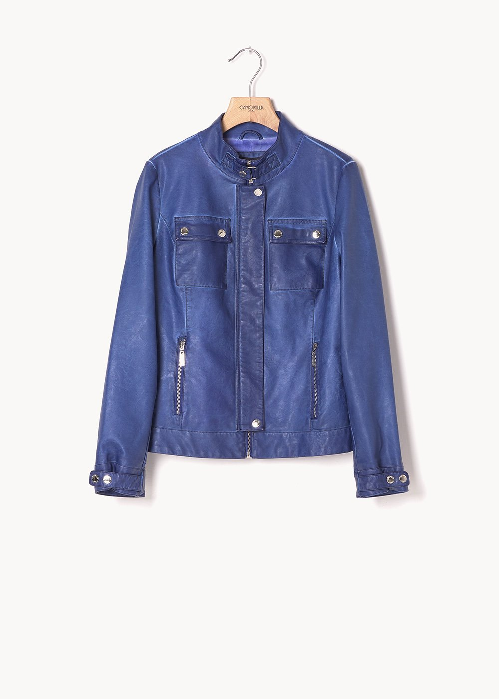 German jacket in air force blue faux-leather fabric - Blue - Woman