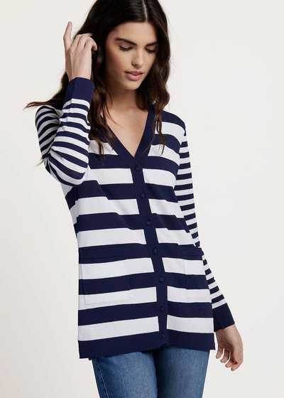 Casey cardigan with white&blue stripes
