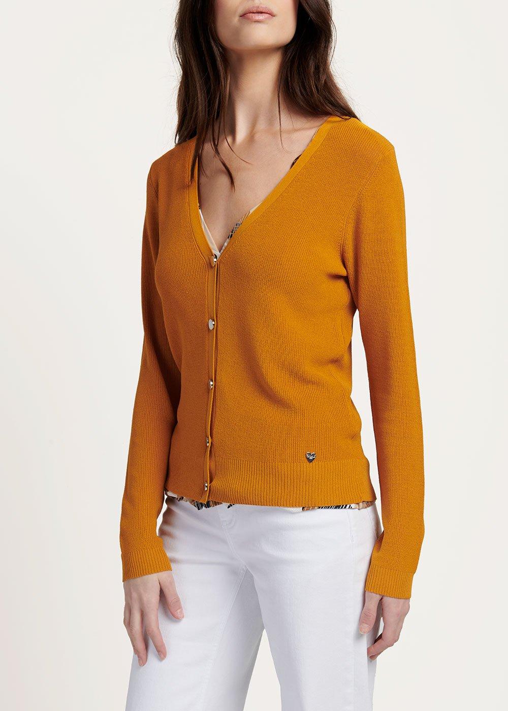 V-neck Can cardigan - Turmeric - Woman