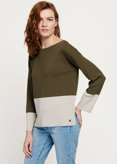 Marilu double-colour cotton yarn sweater