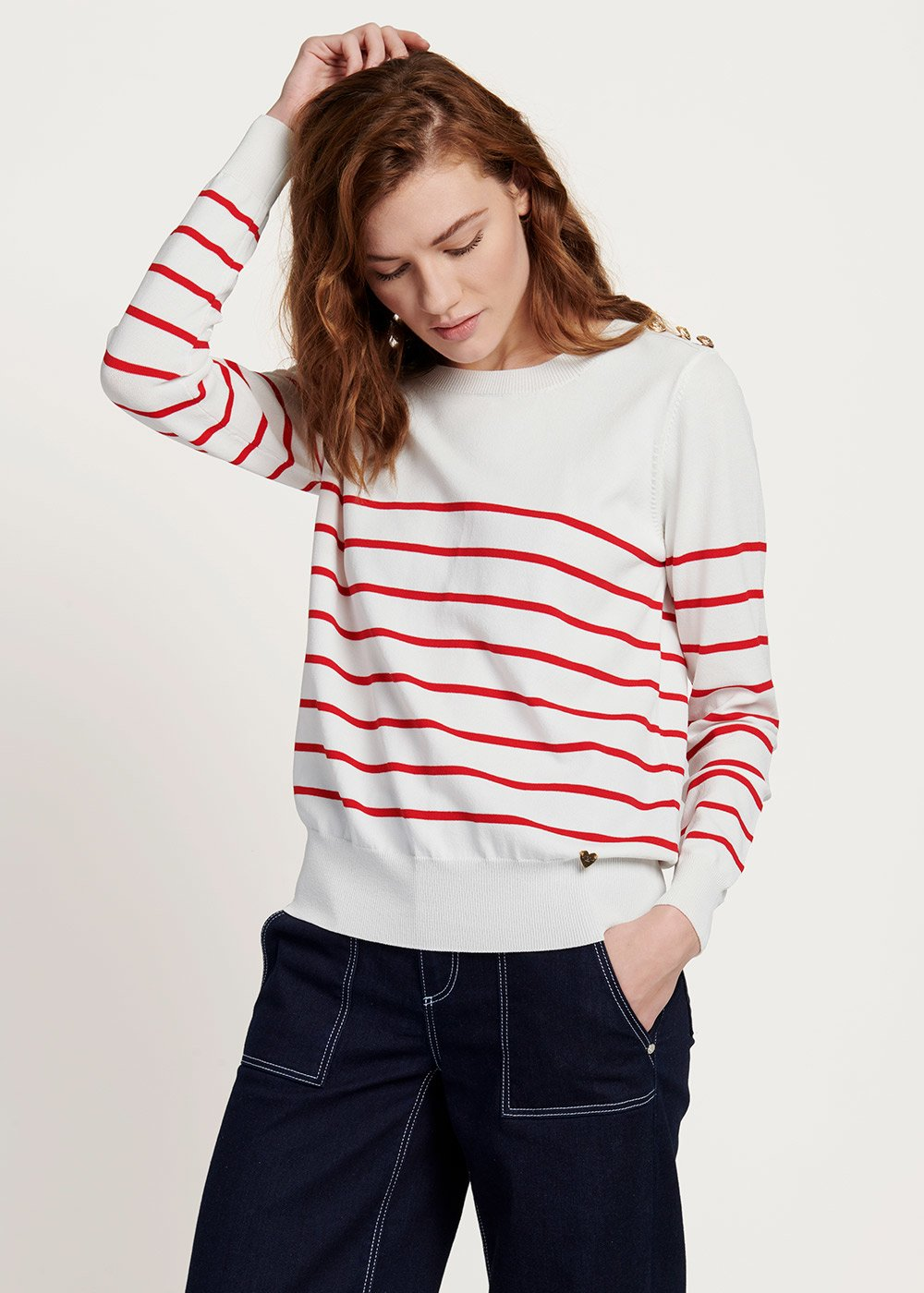 Maxi two-tone sweater with gold buttons - White\ Aragosta\ Stripes - Woman