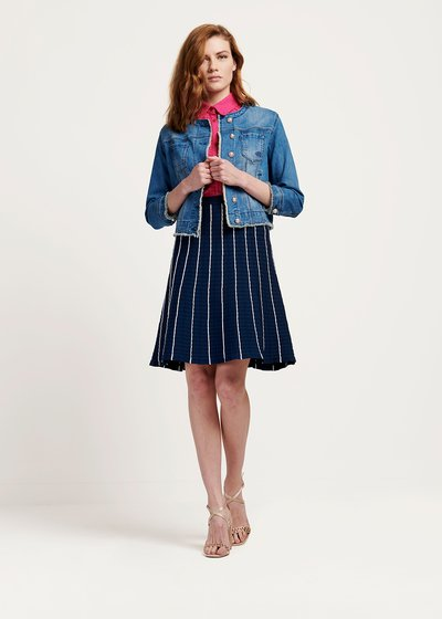 Gheos denim jacket with pearl closure