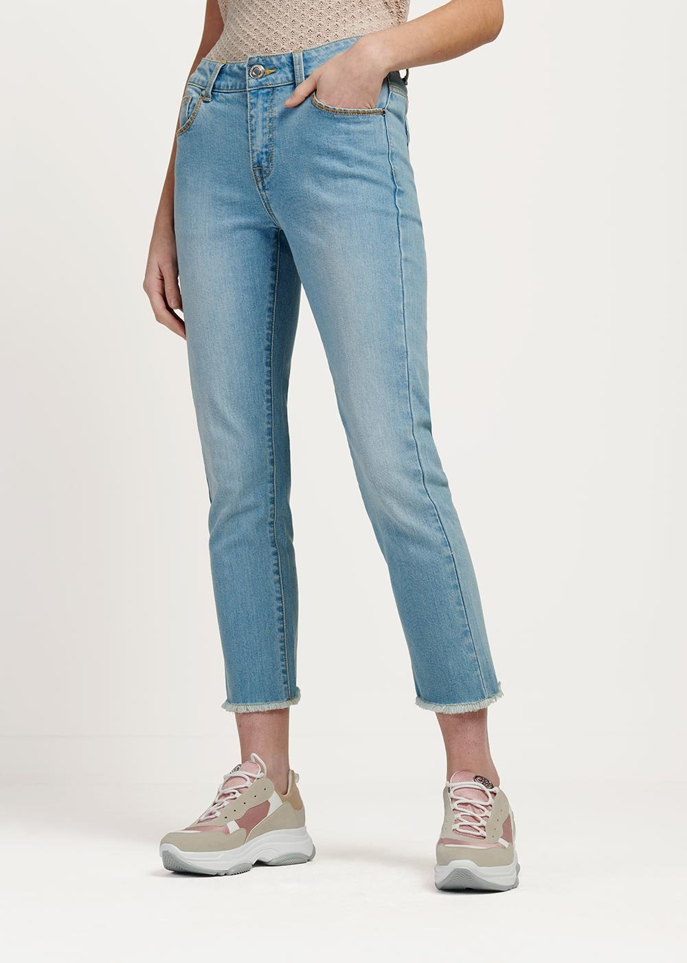 Prinus fringed denim capri trousers - Light Denim - Woman