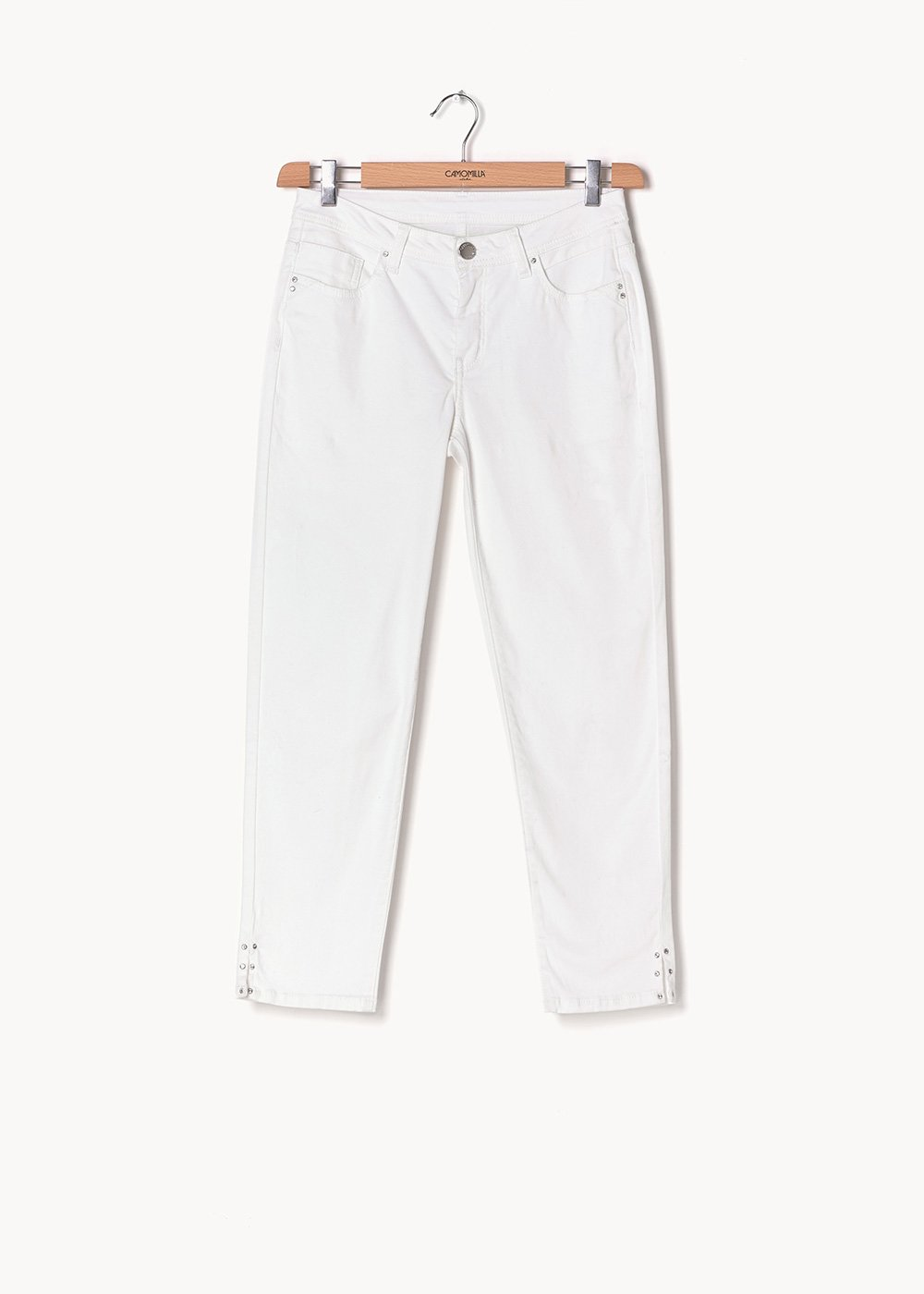 Pardy capri trousers with rhinestone detail at the bottom - White - Woman