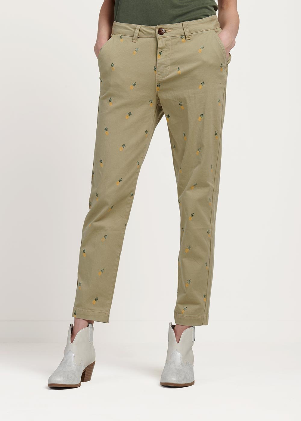 Pamir safari capri trousers with pineapple print - Safari - Woman