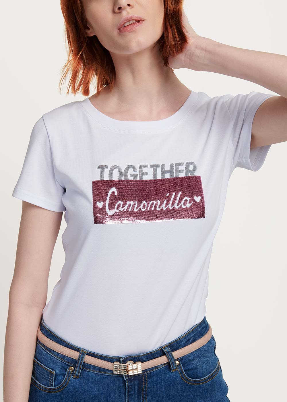 T-shirt Sandy strass e pailletes - White - Donna