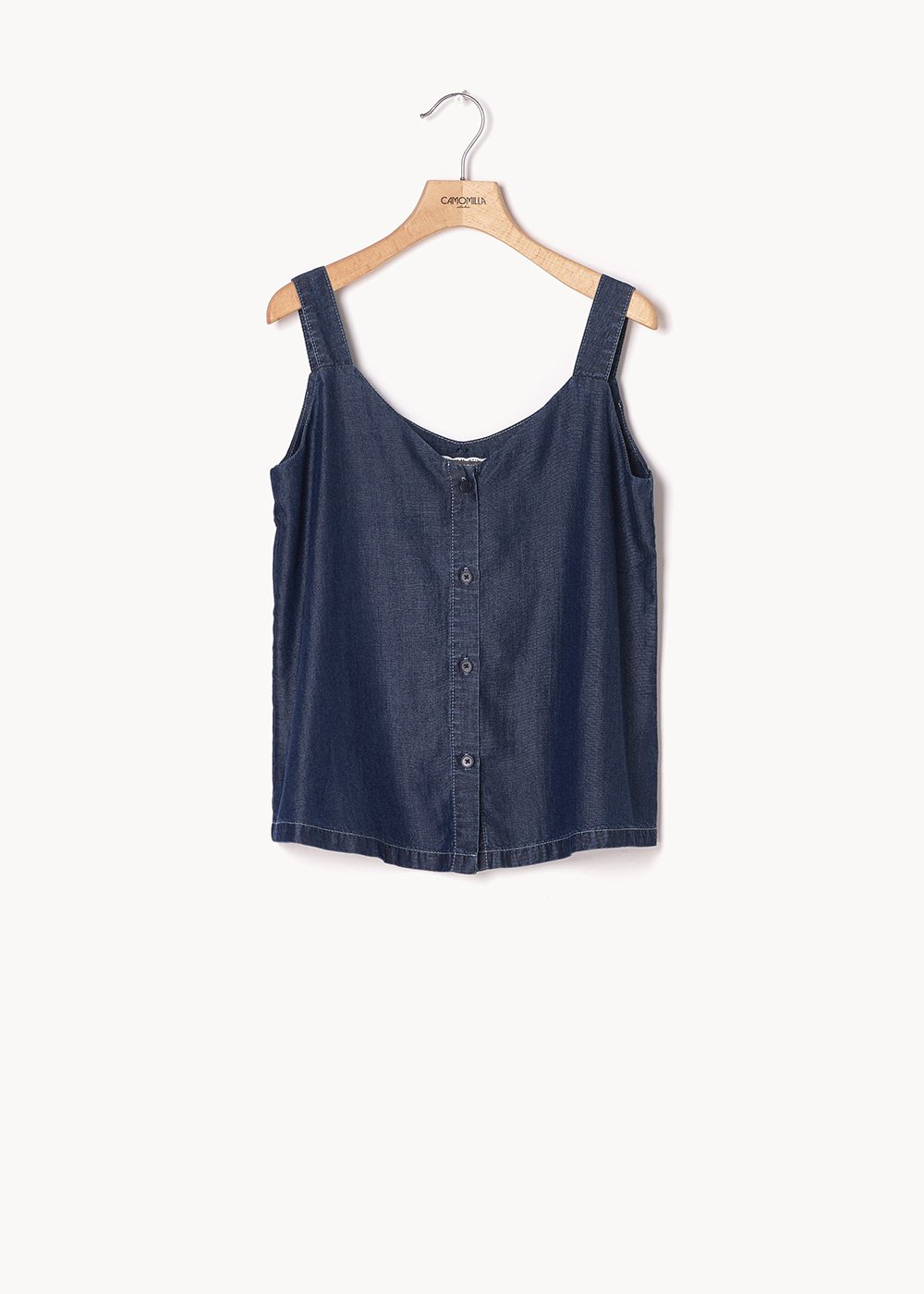 Thor chambray top with buttons - Dark Denim - Woman