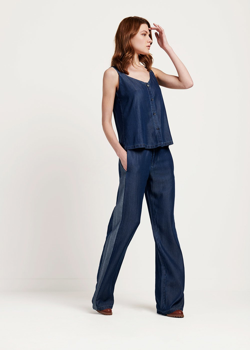 Parky trousers with wide leg and contrasting band - Dark Denim - Woman
