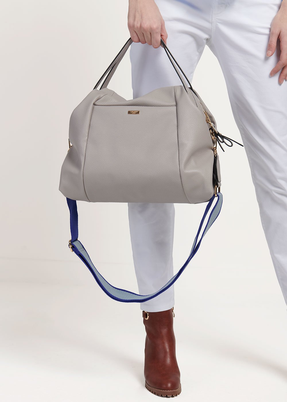 Baily shopping bag with shoulder strap detail - Grey - Woman