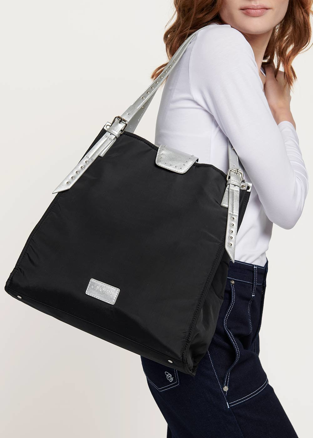 Nylon shopping bag with contrasting handles - Black / Silver - Woman