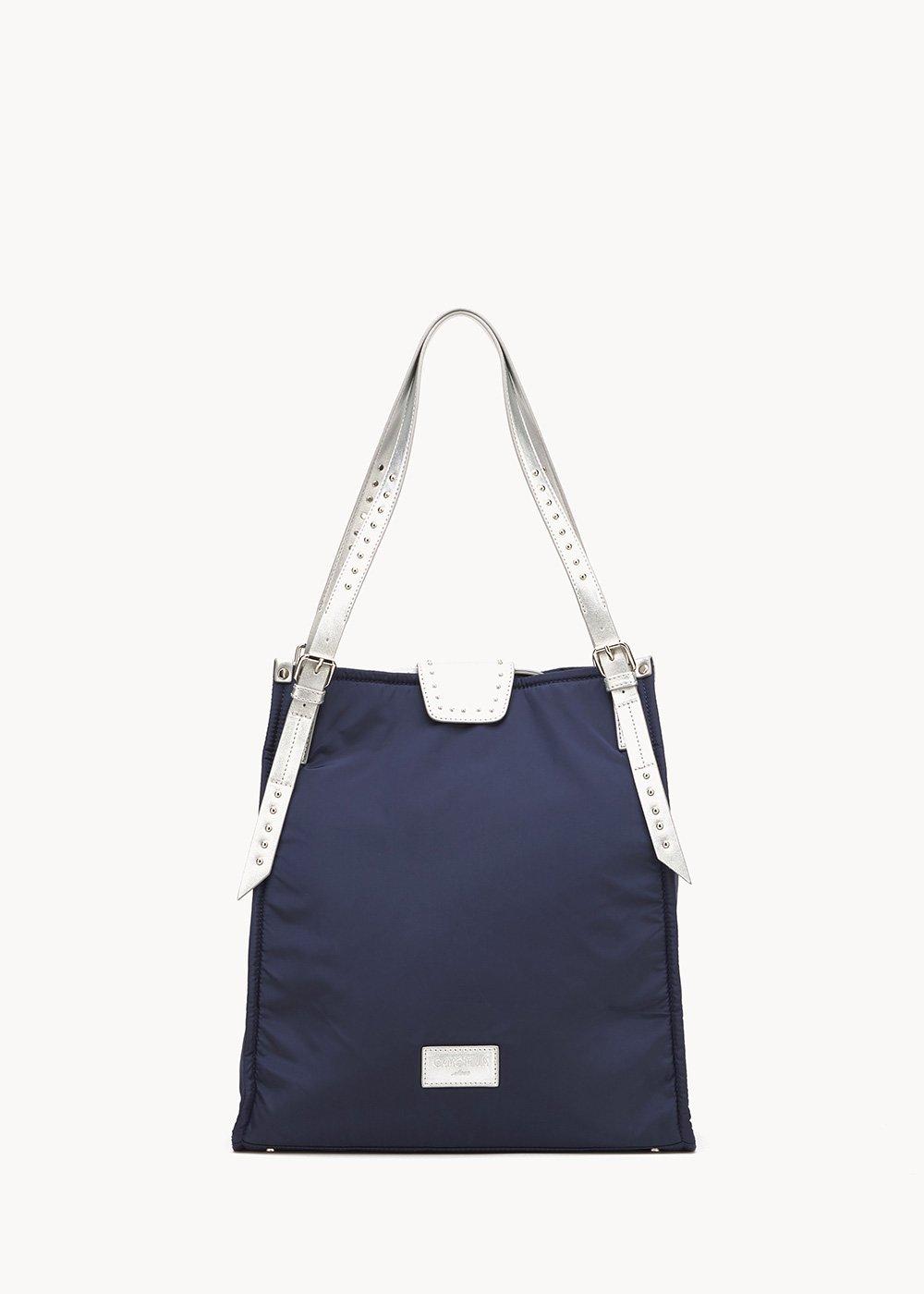 Nylon shopping bag with contrasting handles - Medium Blue / Silver - Woman