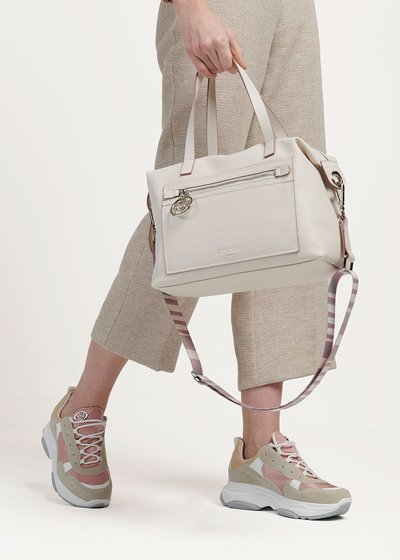 Shopping bag Bastien con piping a contrasto