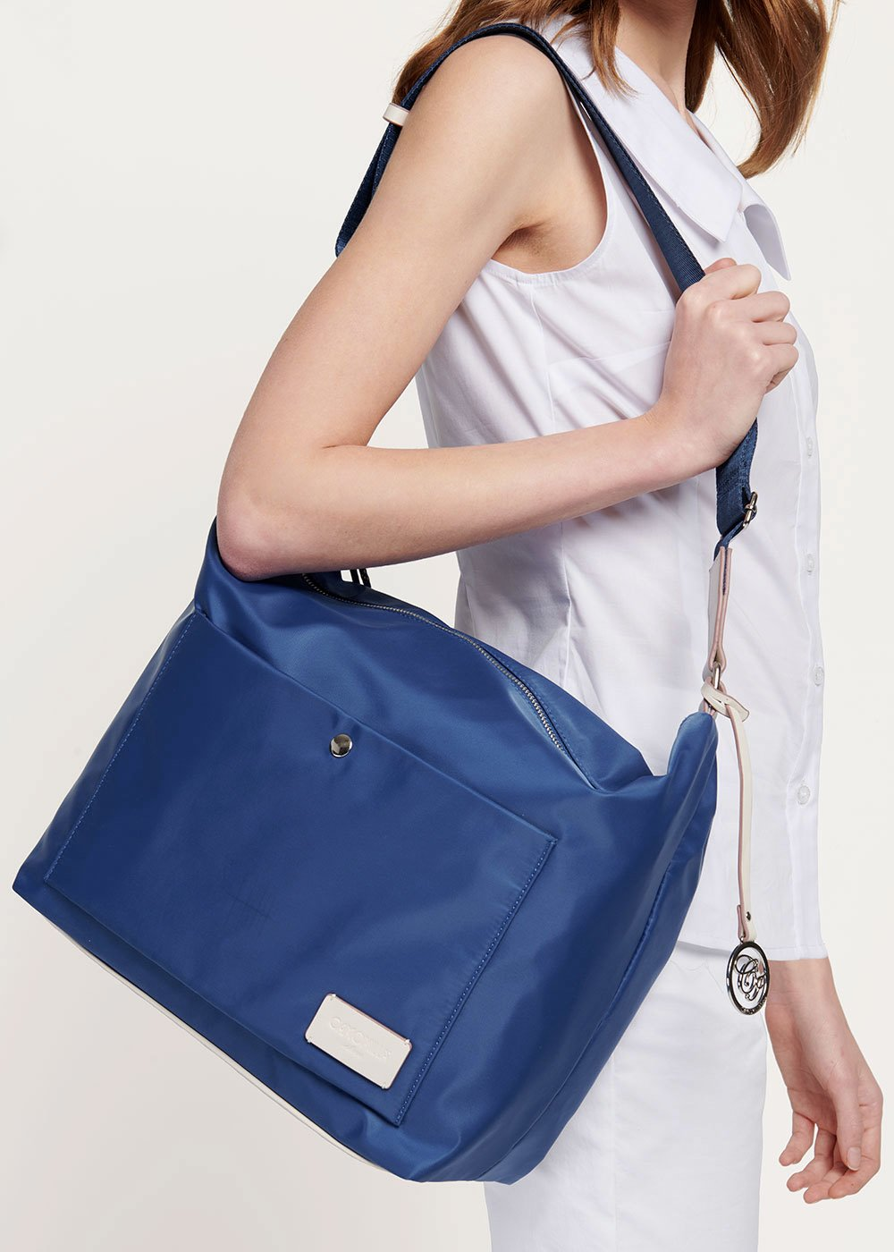 Shopping bag in nylon con doppia tasca - Marina - Donna