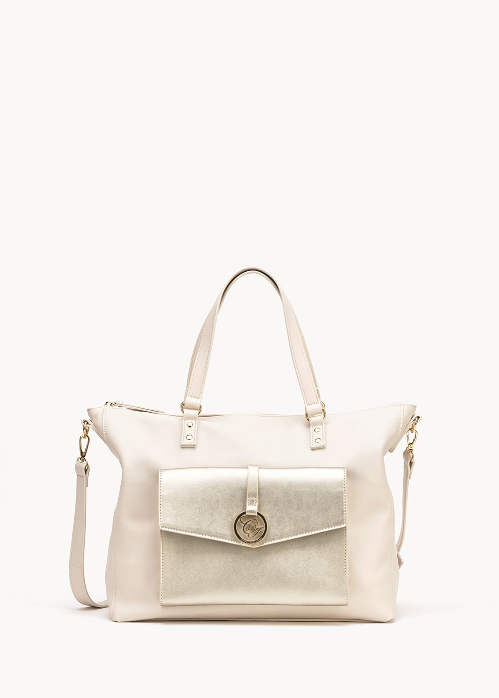 Bland white and gold shopping bag - Cocco / Gold	 - Woman