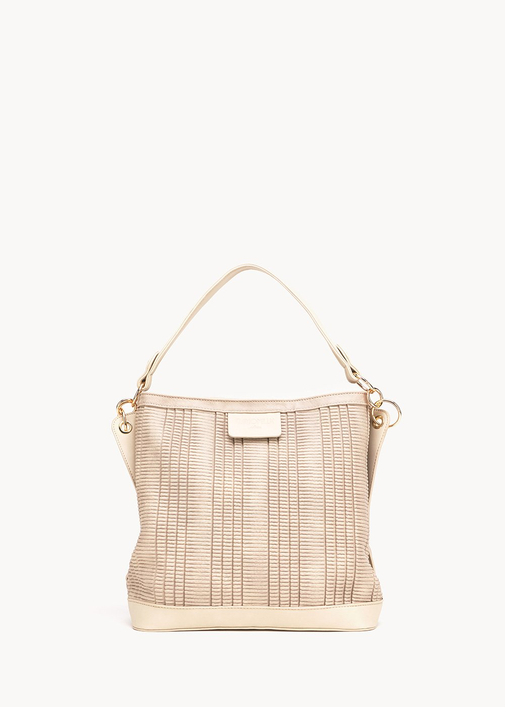 Hobo bag Beky con tracolla - Light Beige - Donna