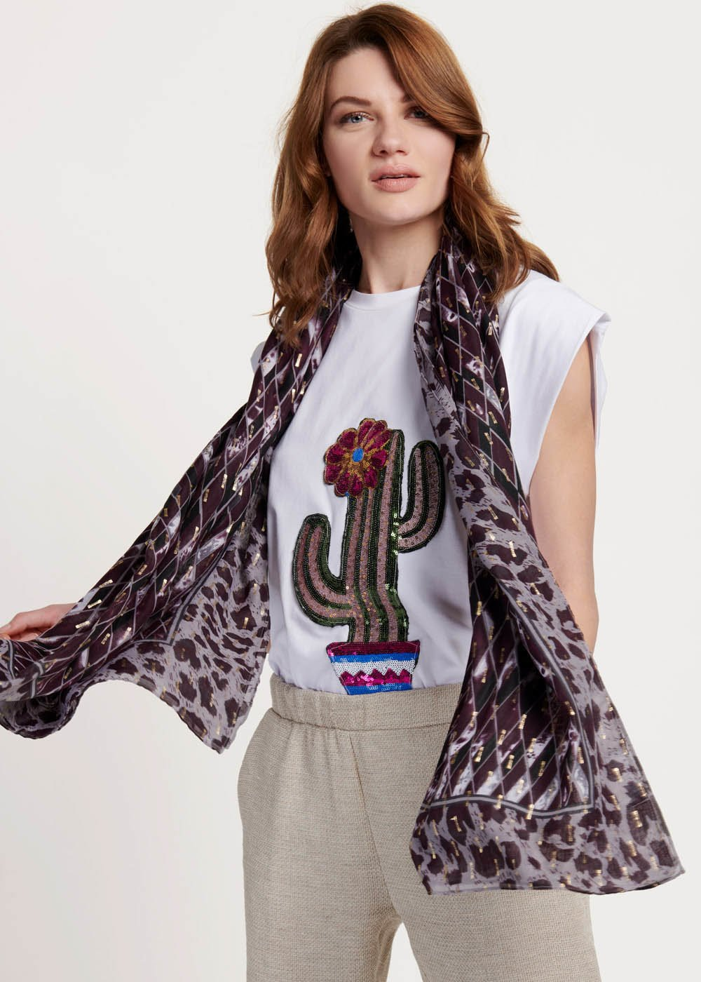 Sarah scarf with geometric print - Maracuja / Fog Fantasia	 - Woman