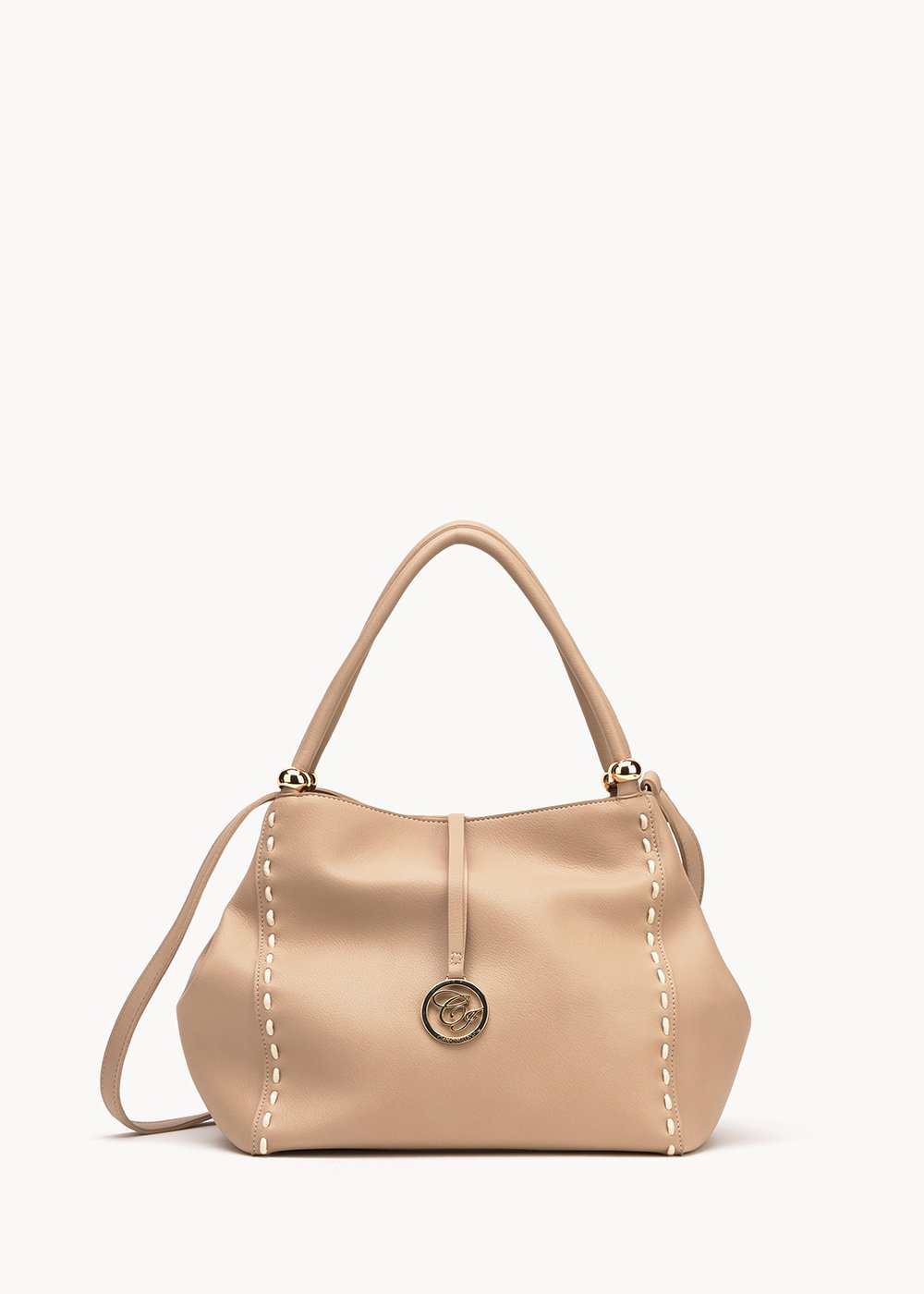 Betsy bag with contrasting stitching - Light Beige - Woman