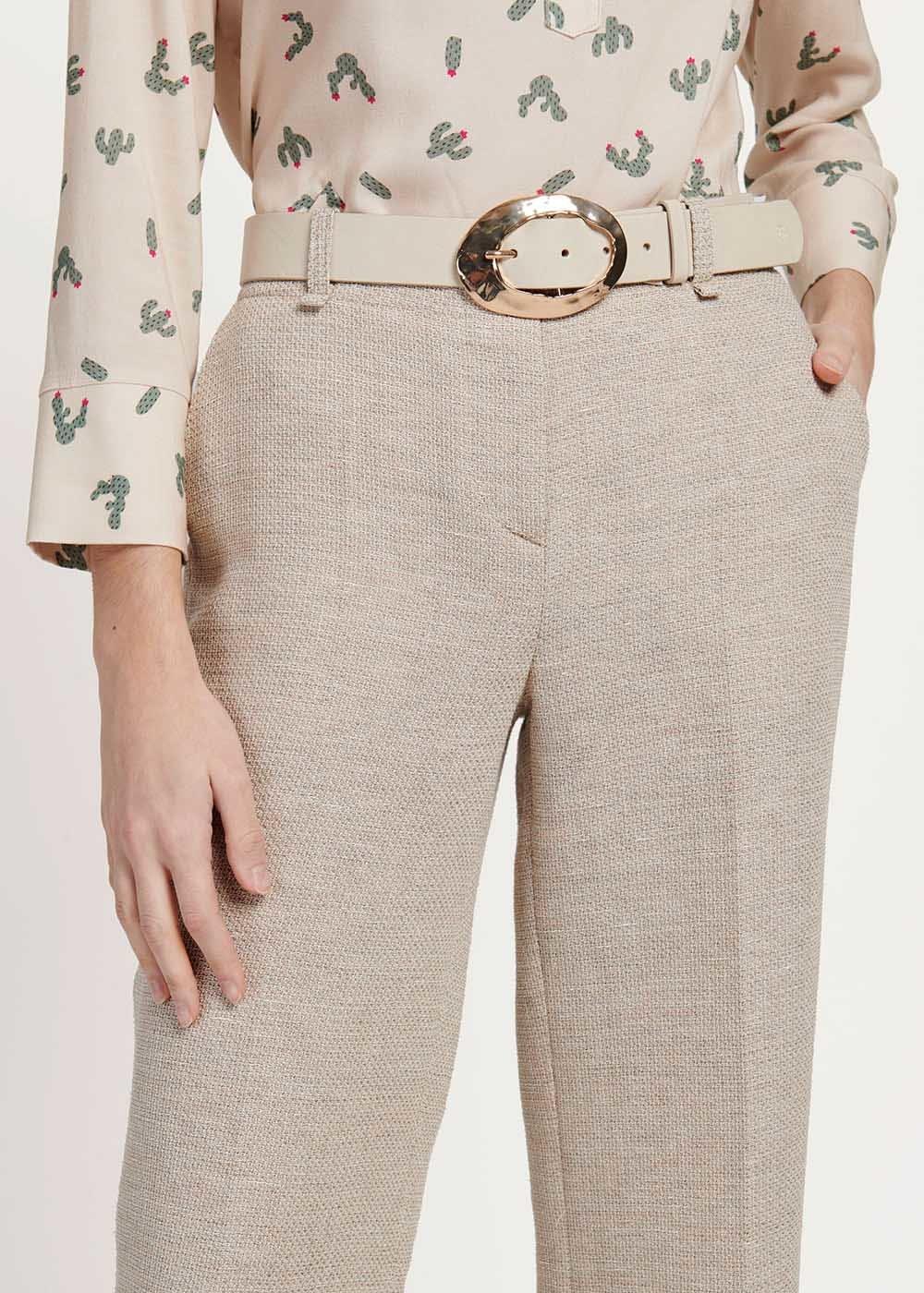 Clop belt with hammered buckle - Light Beige - Woman