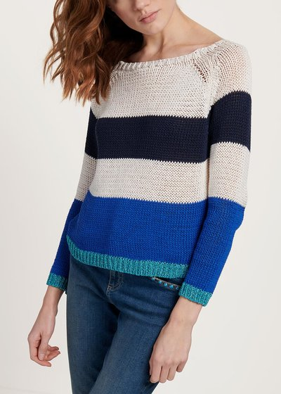Tricolour cotton and viscose Margaret sweater