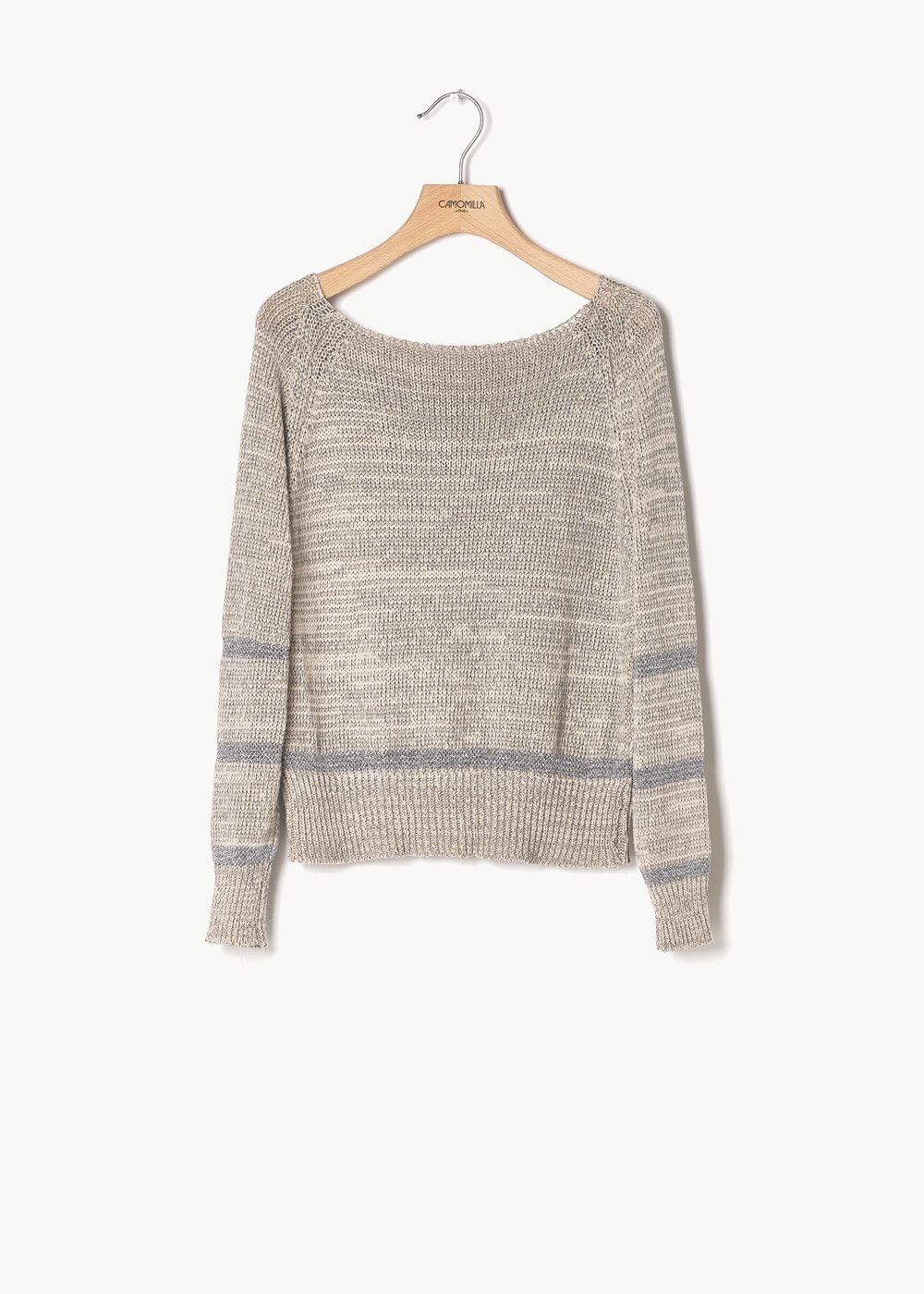 Miss cotton sweater with lurex hems at the bottom - Light Beige - Woman