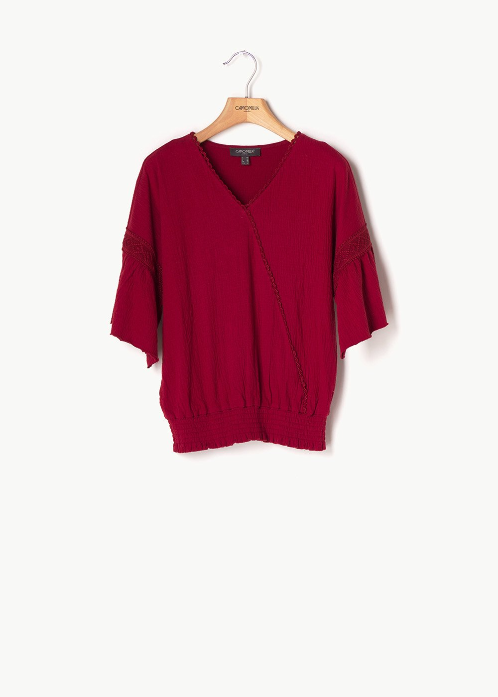 Sofia crisscross cotton shirt - Bordeaux - Woman