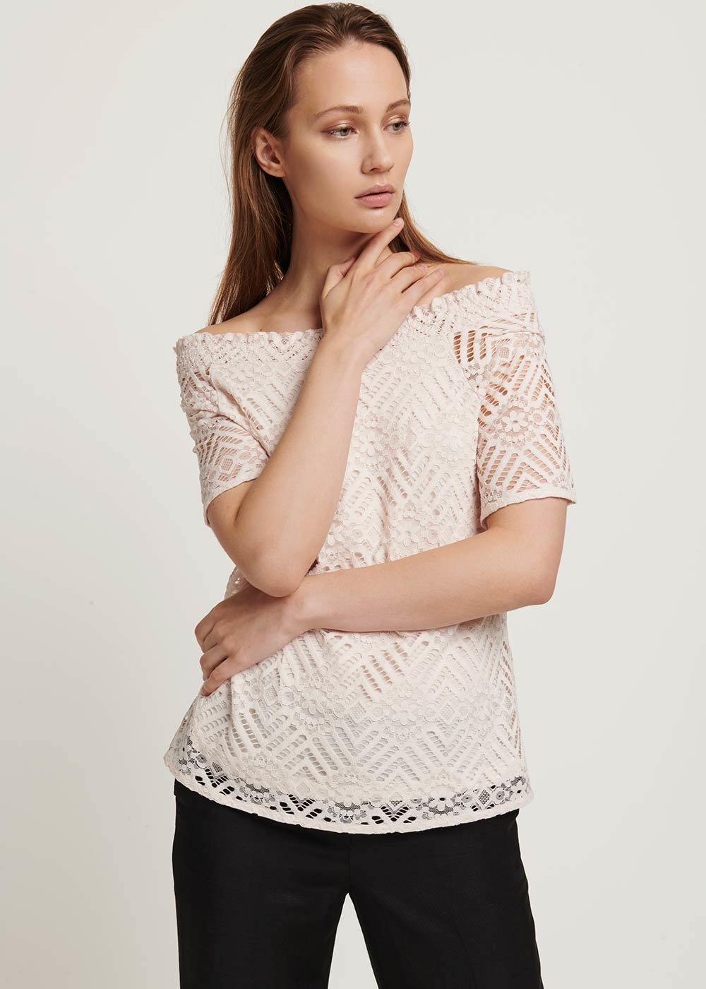 Stefania lace T-shirt - Light Beige - Woman