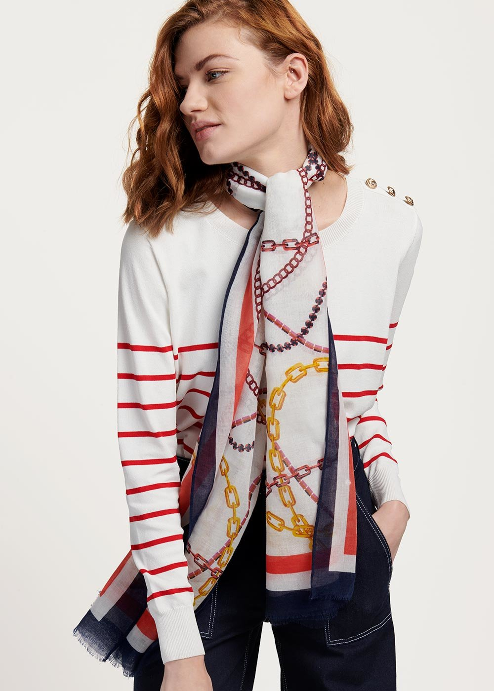 Sydn scarf with chain pattern - White Fantasia - Woman