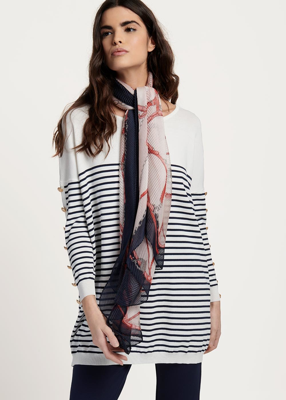 Sharf scarf with pleated chain pattern - White Fantasia - Woman
