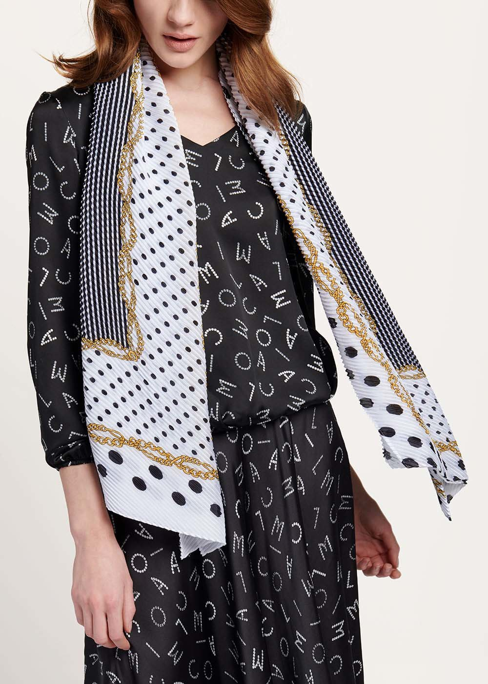 Sams scarf with chains and polka dots pattern - White Pois - Woman