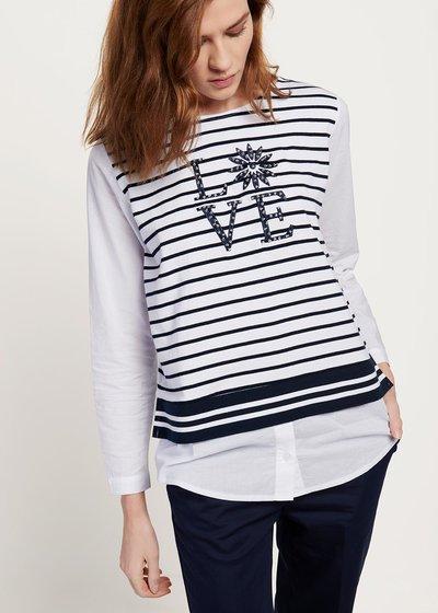 T-shirt Shaky a righe con scritta