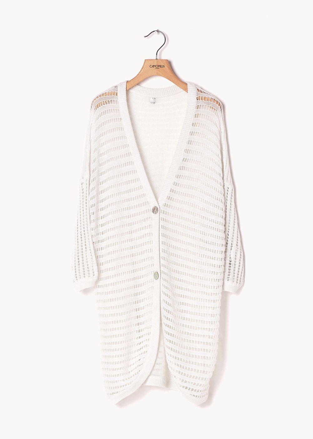 Colby openwork cotton yarn cardigan - White - Woman