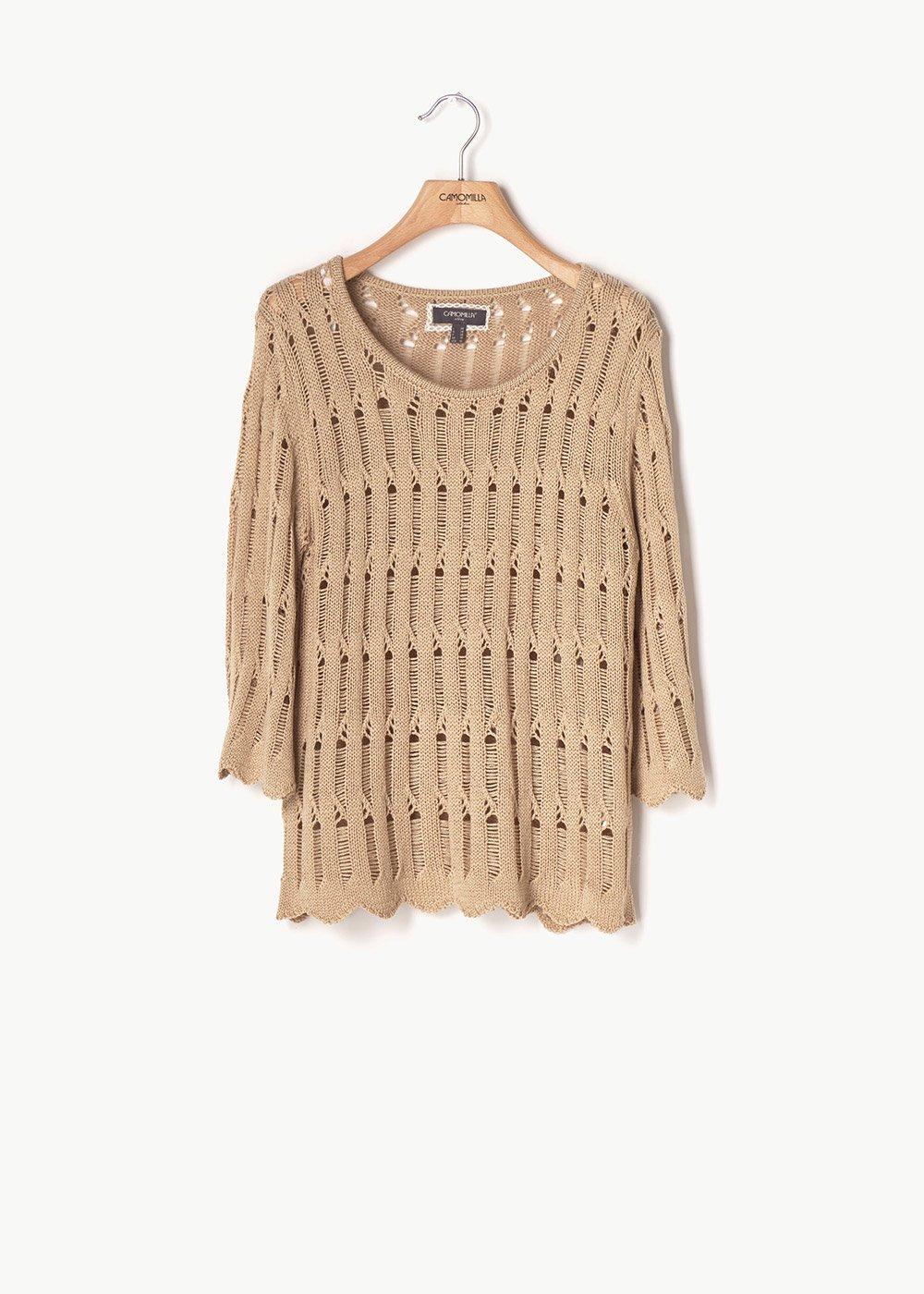 Doek openwork sweater - Doeskin - Woman