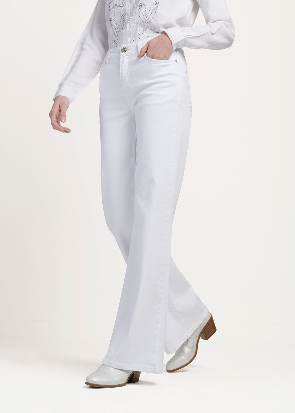 Preston white denim with wide leg - White - Woman