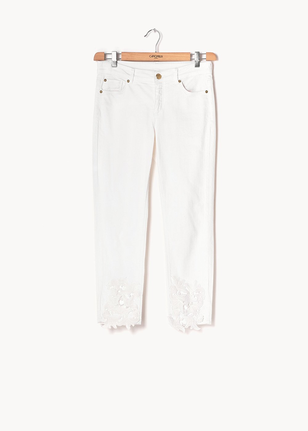 Porthos denim with lace detail - White - Woman