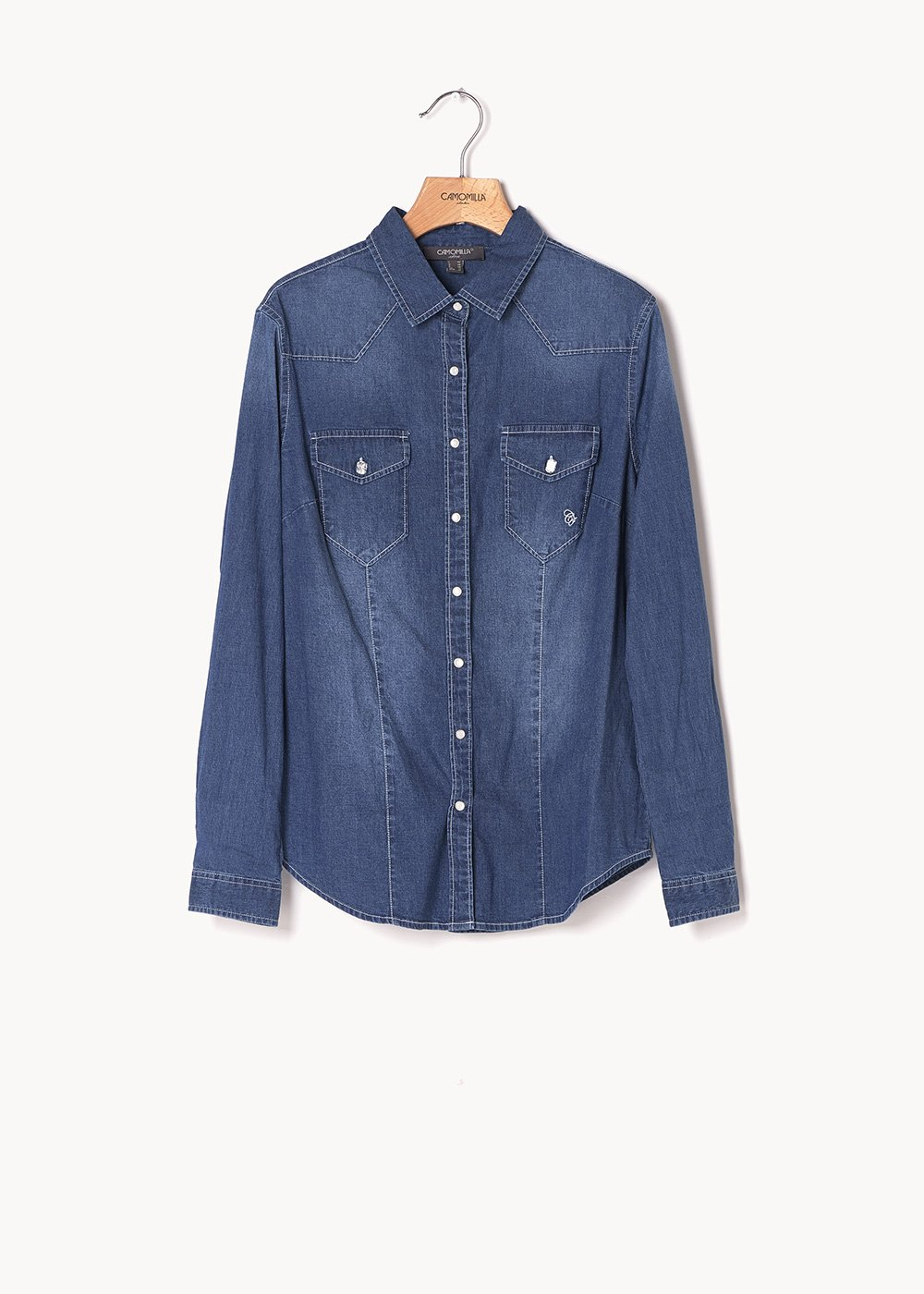 Caty denim shirt with jewel buttons - Dark Denim - Woman