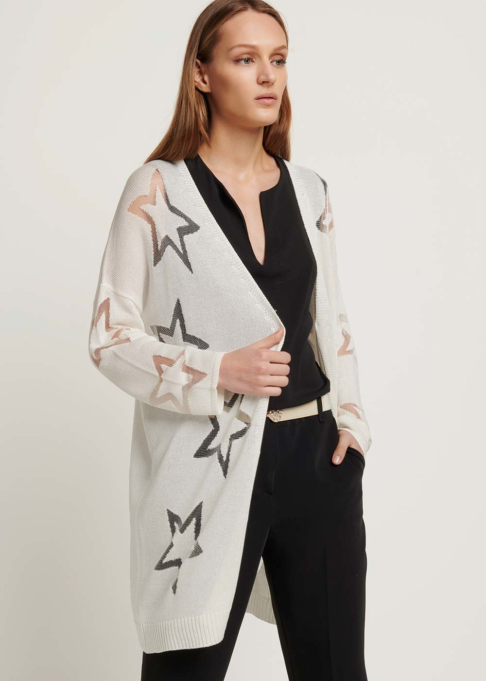 Cotton yarn cardigan with star pattern - White - Woman