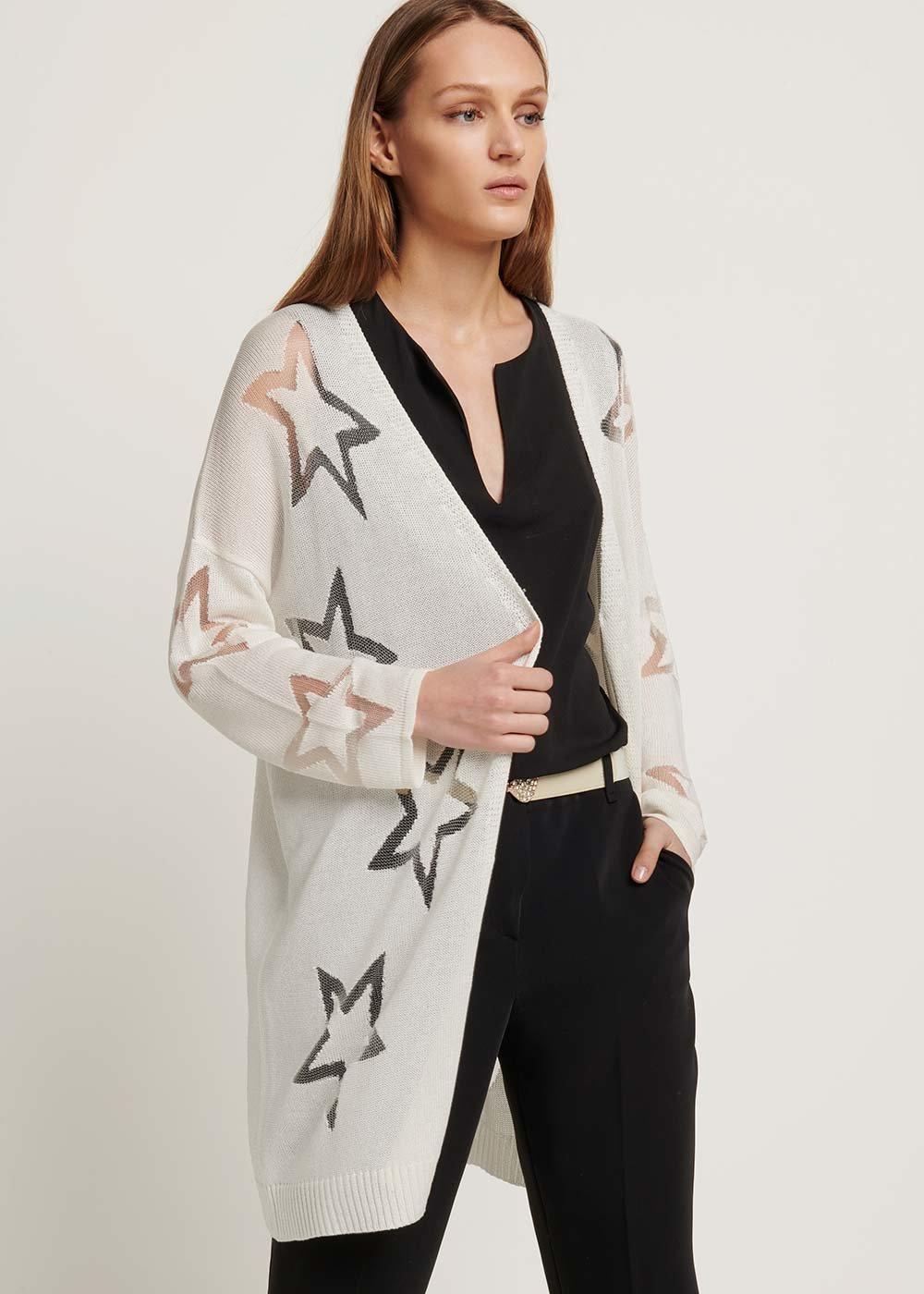 Cotton yarn cardigan with star pattern - White - Woman