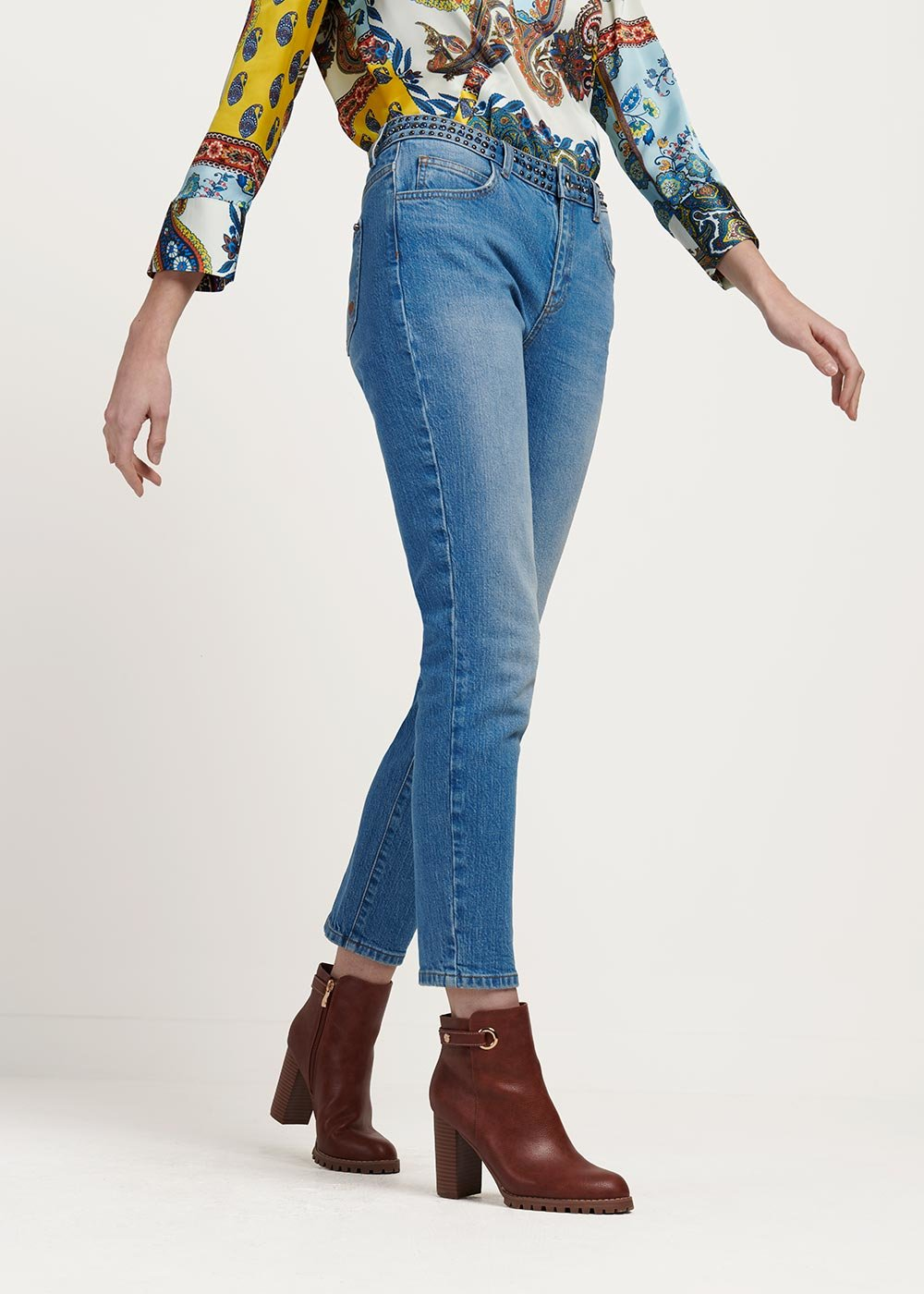 Daisy denim with detail of stones on the bodice - Light Denim - Woman