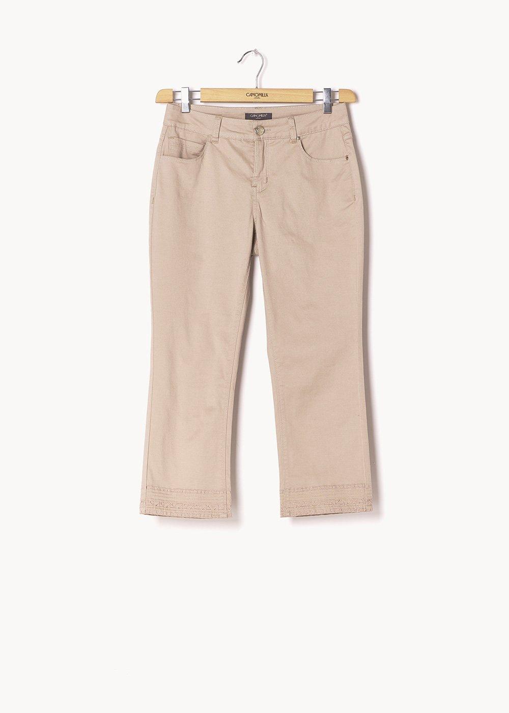 Primo capri pants with broderie anglaise detail - Safari - Woman