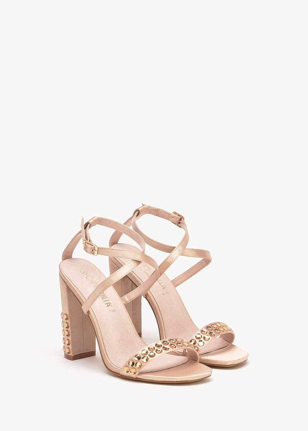 Shary sandals with crystal rhinestones - Light Beige - Woman