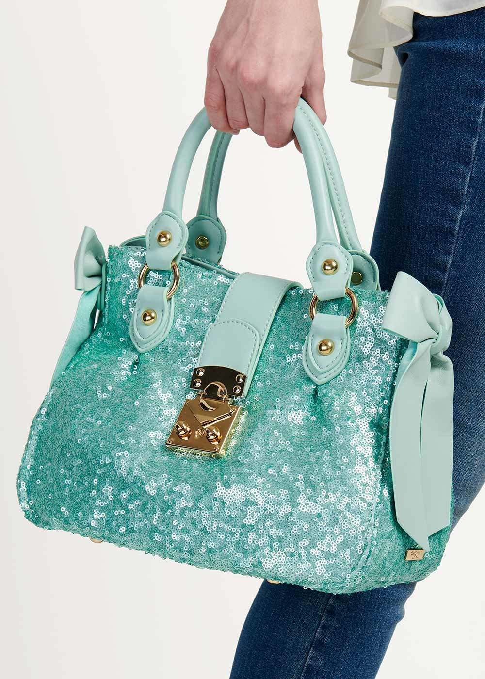 Betsy bag with sequins and bows - Emerald - Woman