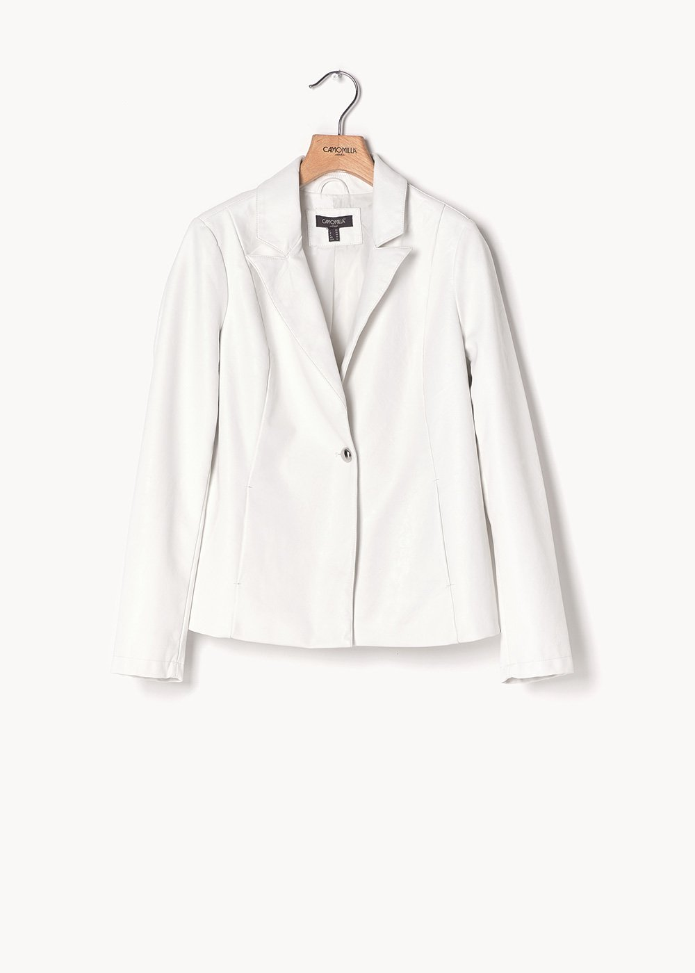 Gabry faux-leather jacket with button - White - Woman