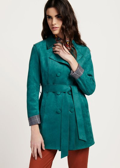Twil double-breasted mint green trench coat
