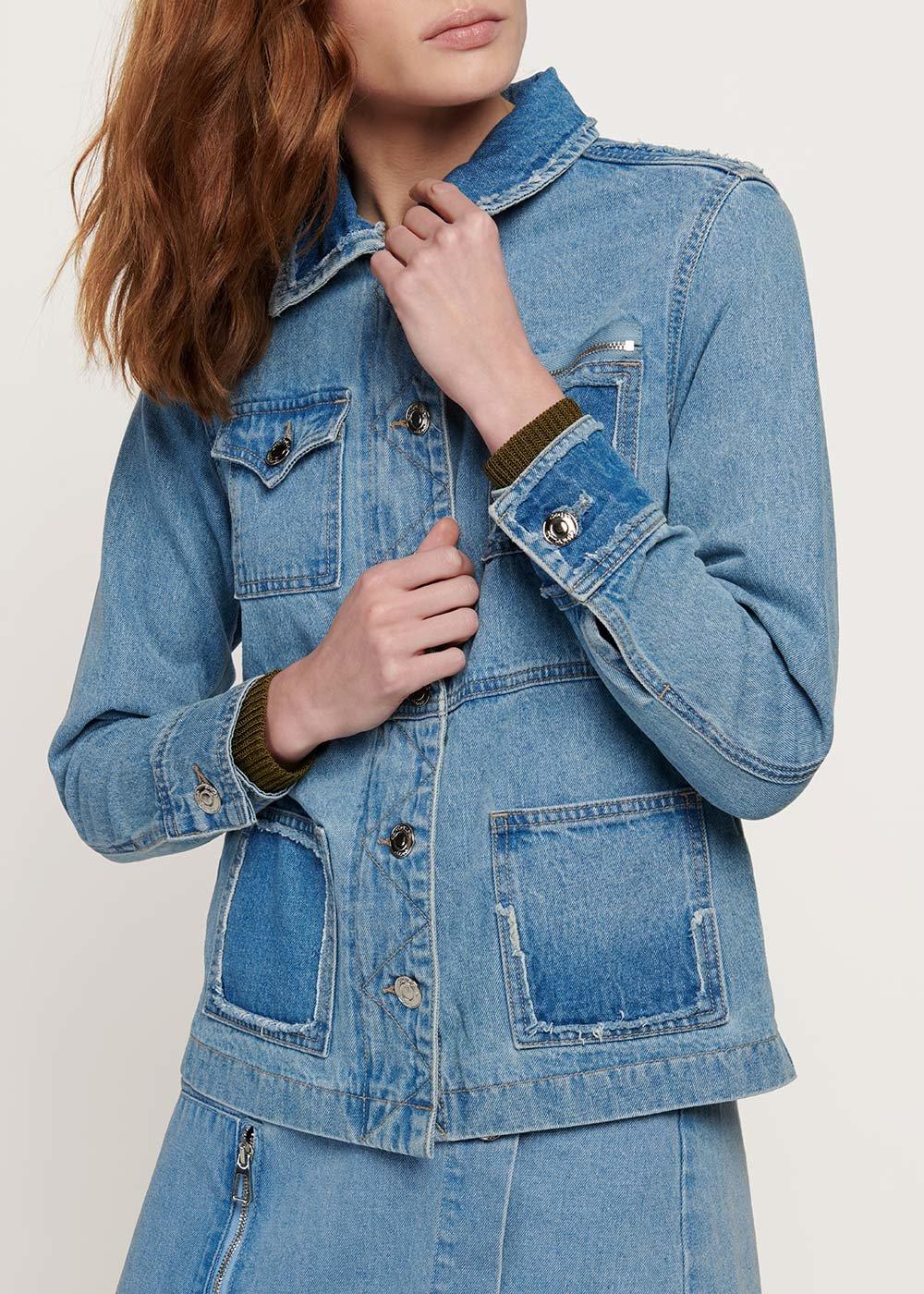Gyl denim jacket with double pockets - Light Denim - Woman